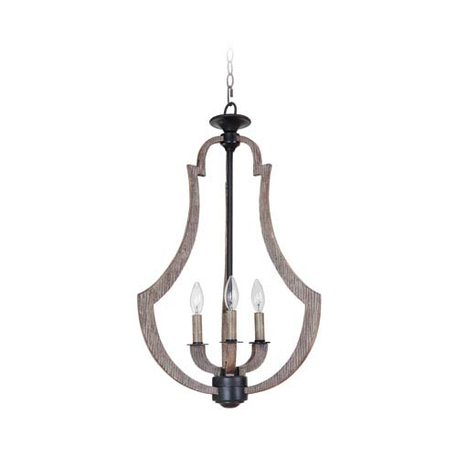 Winton Weathered Pine and Bronze Three-Light Chandelier