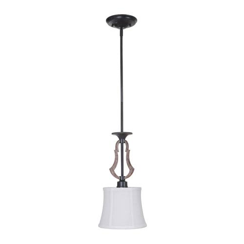 Winton Weathered Pine and Bronze One-Light Mini Pendant with White Linen fabric Shade