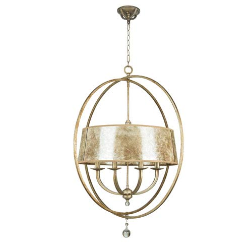 Windsor Athenian Obol Eight-Light Chandelier with Silver Mica Shade