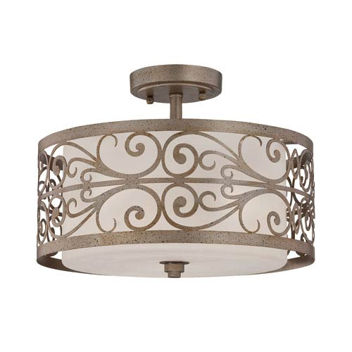 Worthington Athenian Obol Three-Light Semi-Flush Mount with Frosted Glass Shade