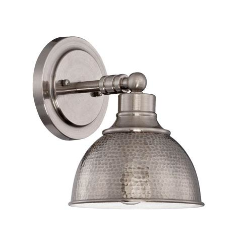 Timarron Antique Nickel One-Light Wall Sconce with Hammered Metal Shade