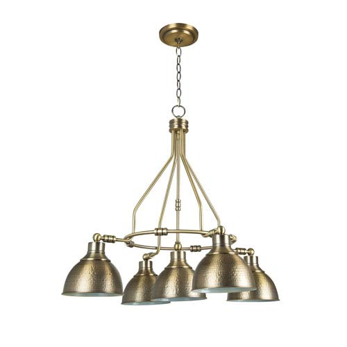Timarron Legacy Brass Five-Light Chandelier with Hammered Metal Shade