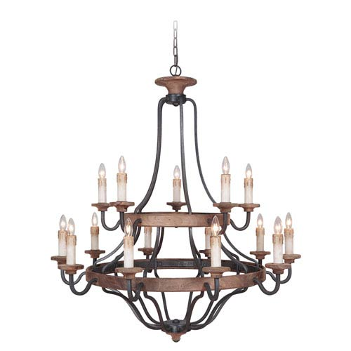 Ashwood Textured Black and Whiskey Barrel 15-Light Chandelier