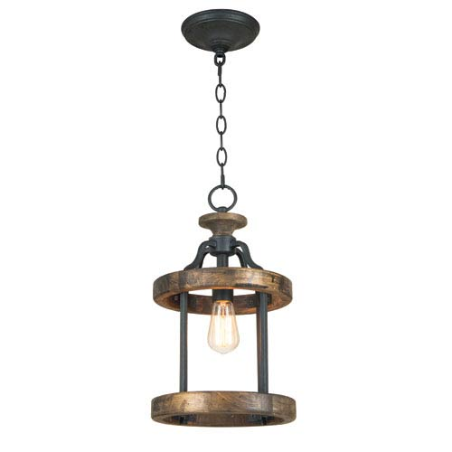 Ashwood Textured Black and Whiskey Barrel One-Light Pendant