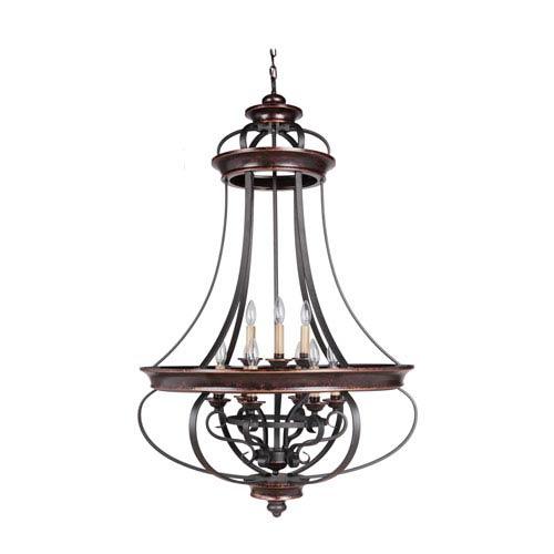 Stafford Aged Bronze Nine-Light 31-Inch Chandelier