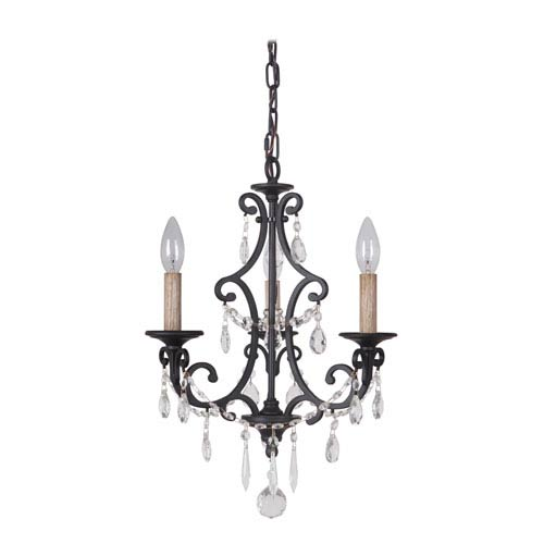 Bentley Matte Black Three-Light Mini Chandelier