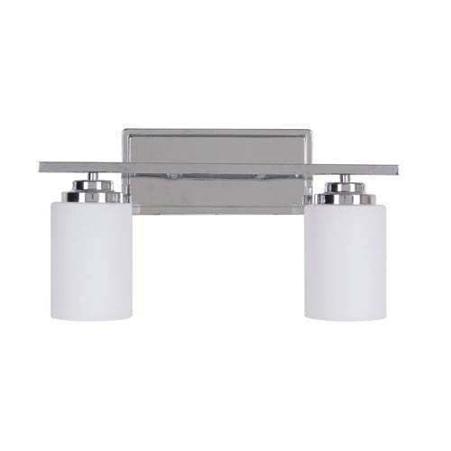 Albany Chrome Two-Light Vanity with White Frosted Glass Shade