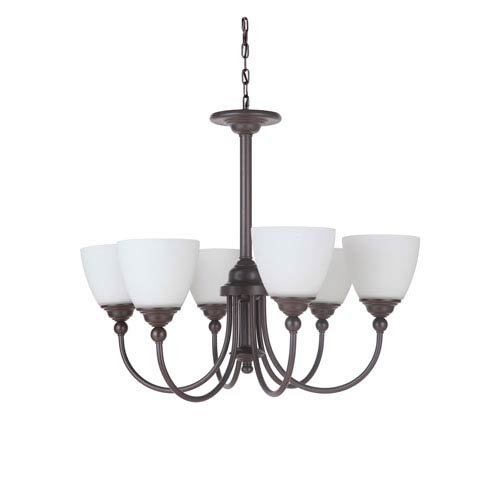 Craftmade Brighton Espresso Six-Light Chandelier with White Frosted Glass Shade