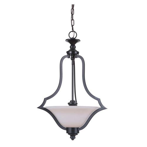 Gabriella Matte Black Three-Light Pendant with White Frosted Glass Shade