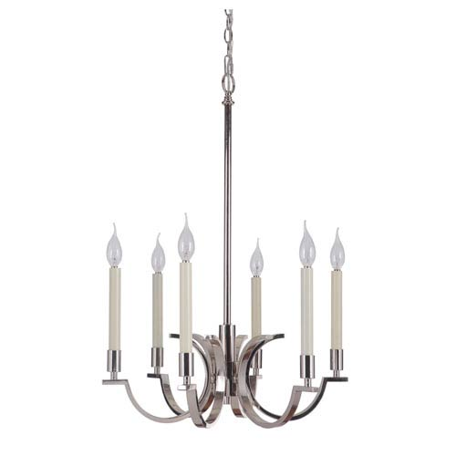 Craftmade Crescent Polished Nickel Six-Light Chandelier