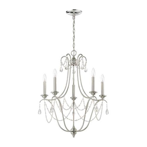 Lilith Polished Nickel Five-Light Chandelier