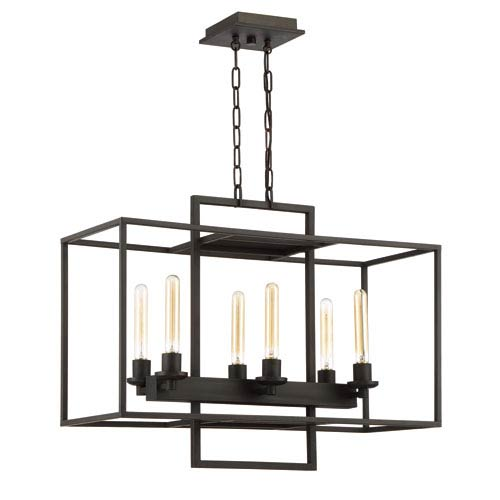 Cubic Aged Bronze Brushed Six-Light 12-Inch Chandelier