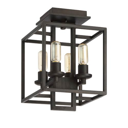 Cubic Aged Bronze Brushed Four-Light Semi-Flush Mount