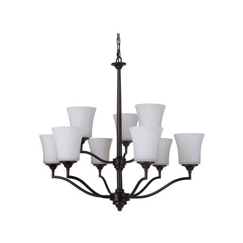 Helena Oiled Bronze Nine-Light Chandelier with White Frosted Glass Shade