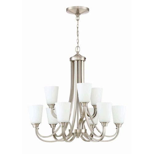 Craftmade Grace Brushed Nickel Nine-Light Chandelier with White Frosted Glass Shade