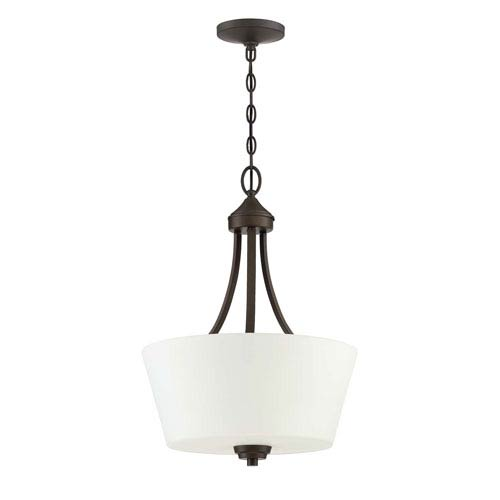 Grace Espresso Three-Light Pendant with White Frosted Glass Shade