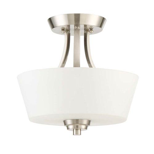 Grace Brushed Nickel Two-Light Semi-Flush Mount with White Frosted Glass Shade