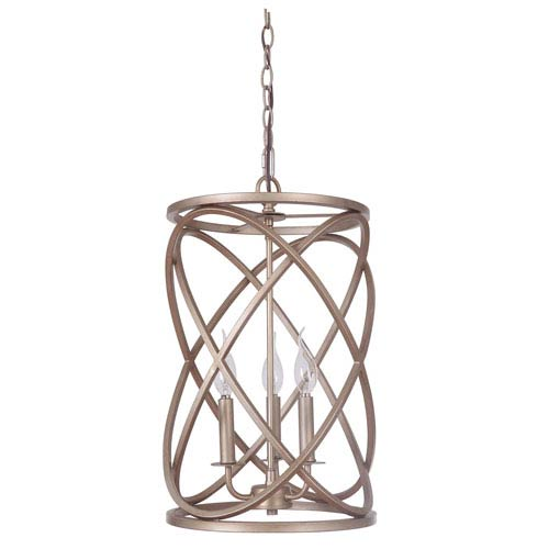 Craftmade Gold Twilight Three Light Chandelier With Cage Metal Shade