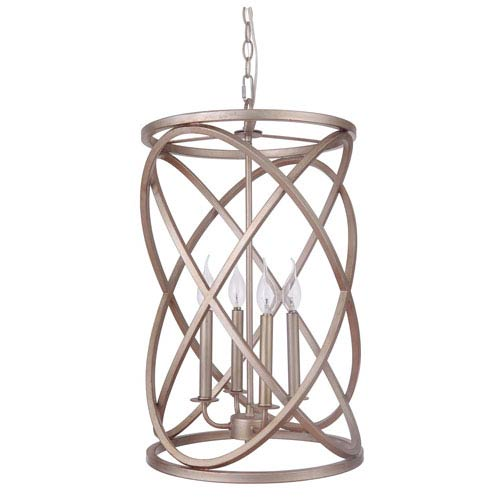 Superbe Craftmade Gold Twilight Four Light Chandelier With Cage Metal Shade