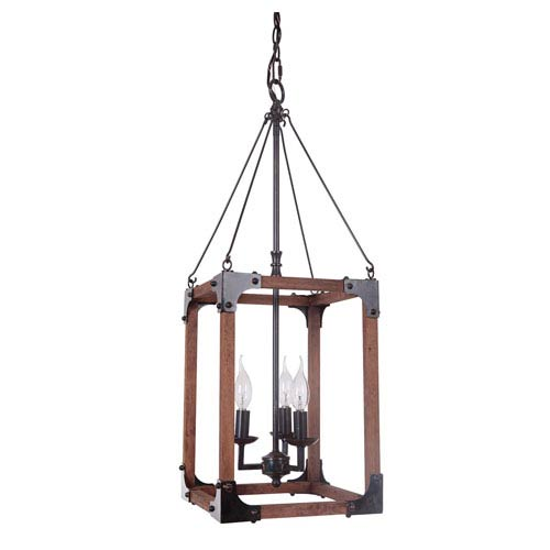 Fired Steel and Natural Wood Three-Light Chandelier with Cage Metal Shade