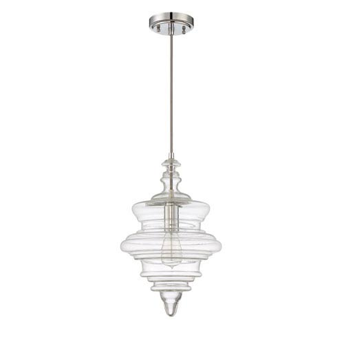 Chrome One-Light 10-Inch Pendant with Clear Glass Shade