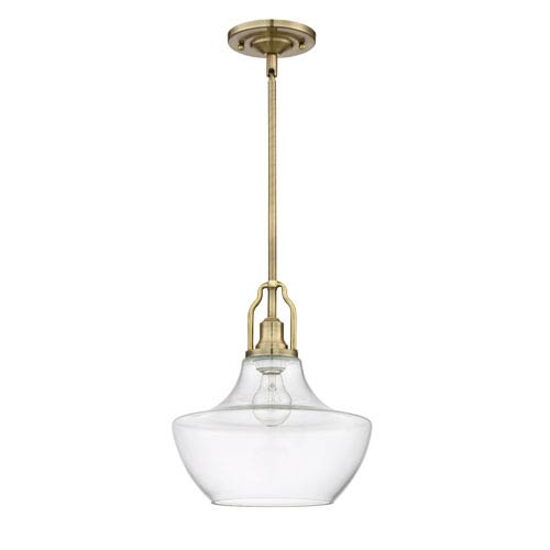 Legacy Brass One-Light Pendant with Clear Glass Shade