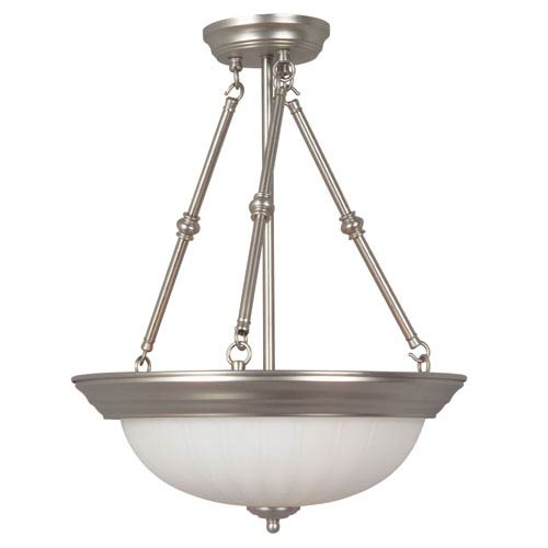 Brushed Nickel Three-Light Pendant with Frosted Melon Glass
