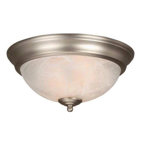 Jeremiah by Craftmade Standard Alabaster Step Pan Brushed Nickel Flush Ceiling Fixture