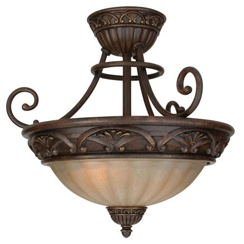 Barcelona Aged Bronze Three-Light Semi Flush Mount with Tea Stained Glass