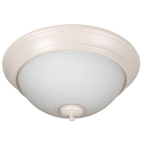Pro Builder Antique White Three-Light Flush Mount with White Frost Glass Shade