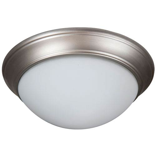 Pro Builder Premium Brushed Nickel Three-Light Flush Mount with White Twist Glass Shade