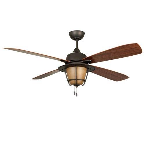 Morrow Bay Espresso 56-Inch Three-Light Outdoor Ceiling Fan with Teak Blades