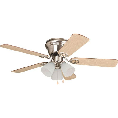 Craftmade Wyman Brushed Polished Nickel 42-Inch Three-Light Ceiling Fan with Reversible Ash and Walnut Blades