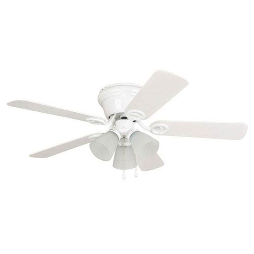 Craftmade Wyman White 42-Inch Three-Light Ceiling Fan with Reversible White and White Washed Blades