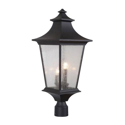 Argent II Midnight Three-Light Outdoor Post Mount