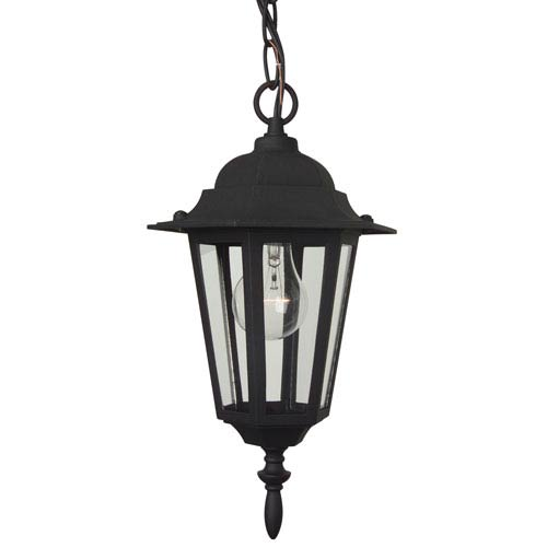 Craftmade Straight Glass Matte Black Outdoor Pendant