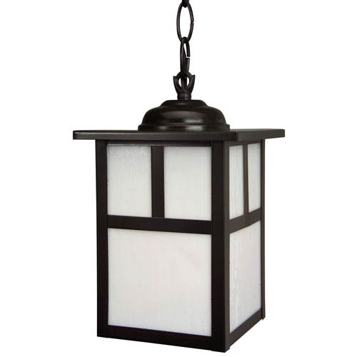 Mission Burnished Copper One-Light Outdoor Pendant with Frosted Glass