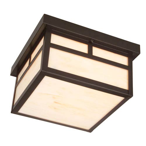 Mission Burnished Copper One-Light Outdoor Flush Mount with Frosted Glass