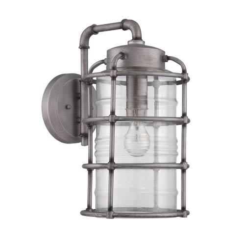 Hadley Aged Galvanized Nine-Inch Outdoor Wall Sconce
