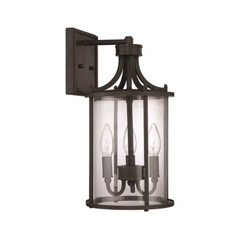 Craftmade Carlton Aged Bronze Brushed Three-Light 15-Inch Outdoor Wall Mount