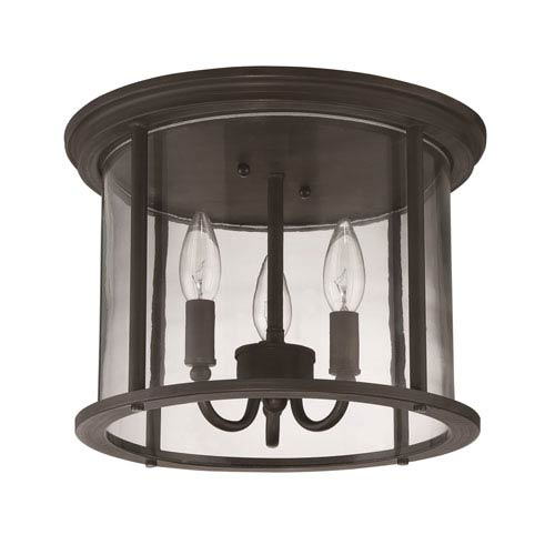 Craftmade Carlton Aged Bronze Brushed Three-Light Outdoor Ceiling Mount