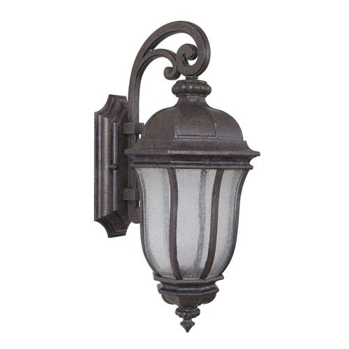 Harper Peruvian Bronze One-Light Medium LED Outdoor Wall Mount Lantern with Clear Seeded Glass