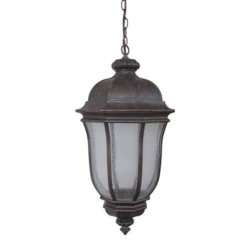 Harper Peruvian Bronze One-Light Large LED Outdoor Pendant with Clear Seeded Glass
