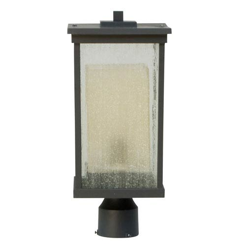 Riviera Oiled Bronze One-Light Outdoor Post Mount with Double Shade