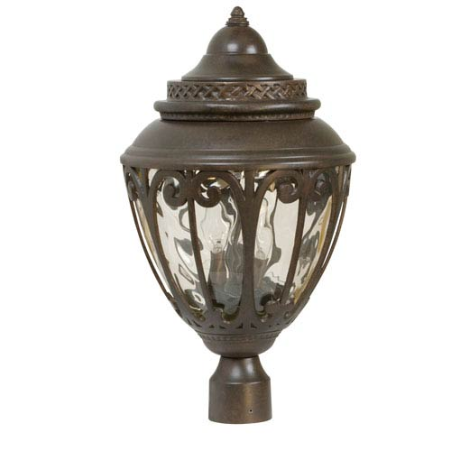 Olivier Aged Bronze Three-Light Outdoor Post Mount with Champagne Hammered Glass