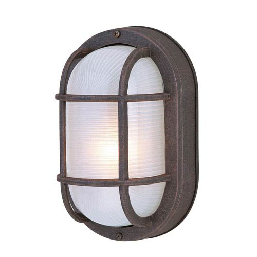 Bulkhead Rust One-Light Outdoor Ceiling Mount