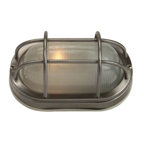 Stainless Steel One-Light Outdoor Bulkhead with Frosted Halophane Glass