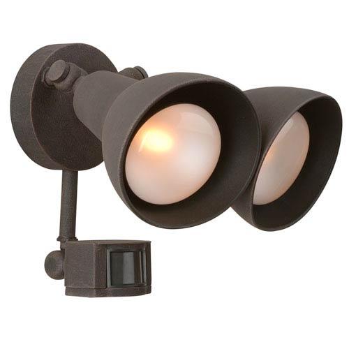 Rust Two-Light Outdoor Flood Light with Motion Sensor