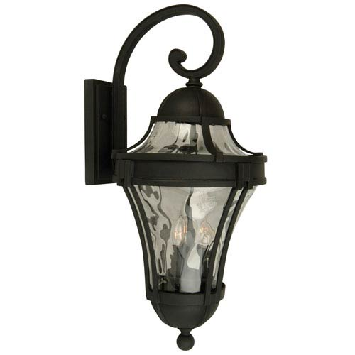 Craftmade Parish Matte Black Two-Light Outdoor Wall Mount with Clear Hammered Glass
