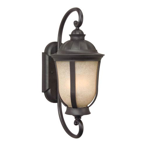 Craftmade Frances II Oiled Bronze Three-Light Outdoor Wall Mount with Tea Stained Scavo Glass